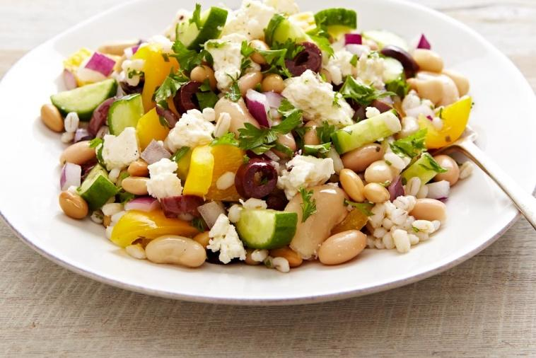 bean and barley greek salad