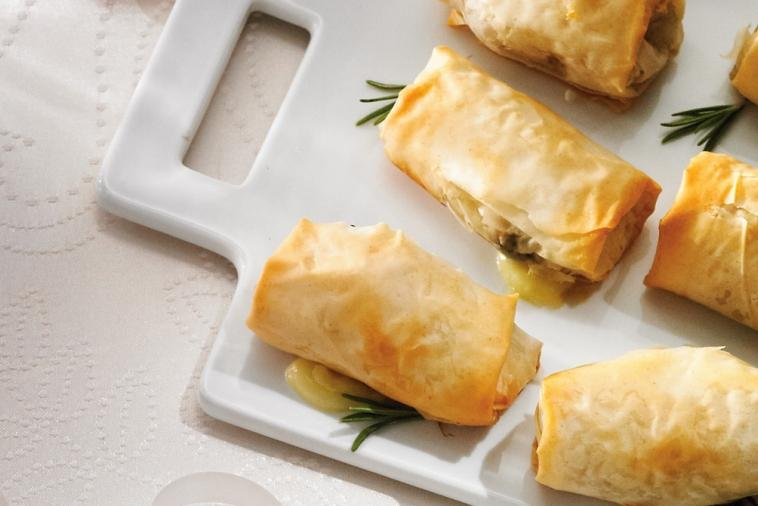 brie mushroom and rosemary pastries