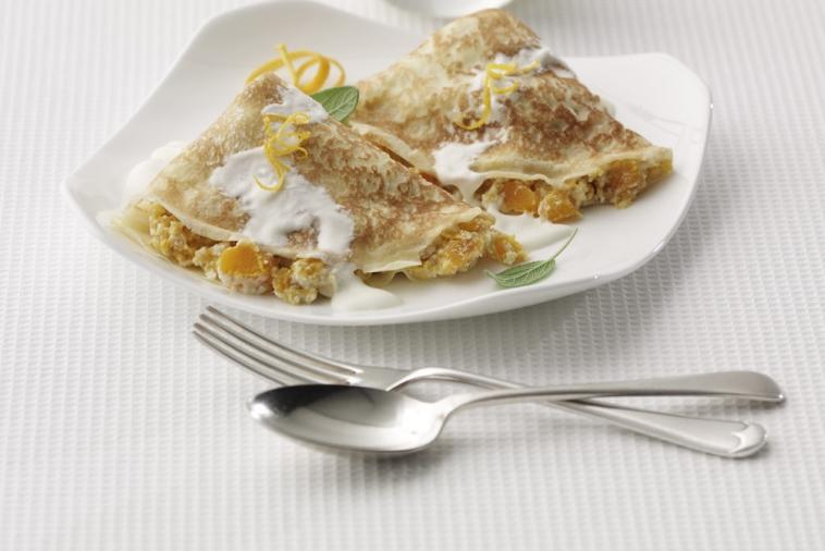 butternut squash ricotta filled crepes with maple creme fraiche