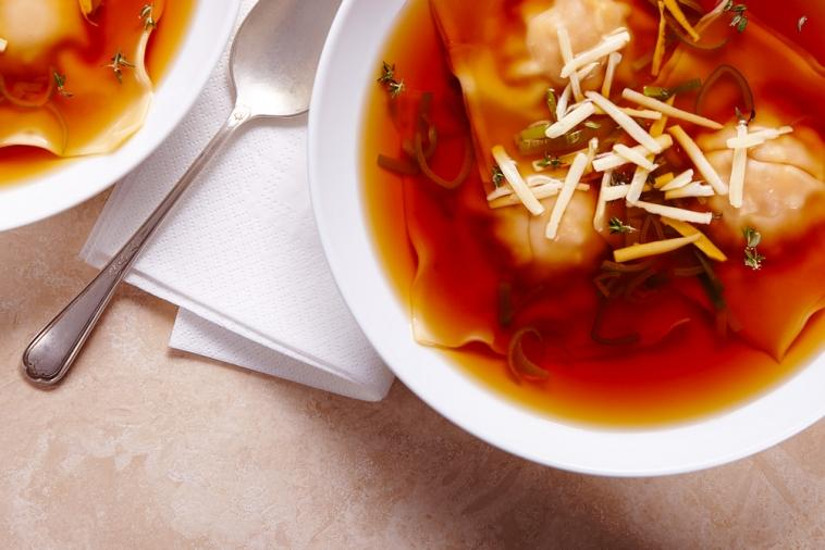 butternut swiss cheese ravioli soup