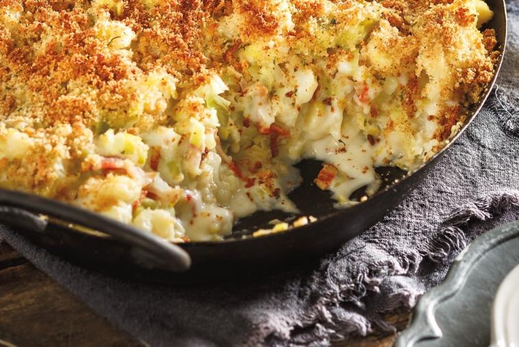 cauliflower leek and bacon gratin