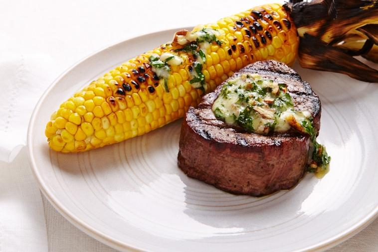 cheddar onion butter on steak and corn on the cob