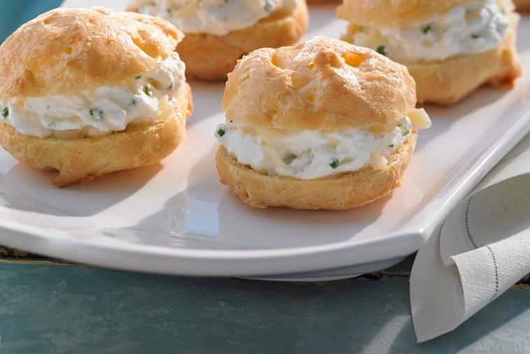 cheese gougeres filled with extra old cheddar whipped cream