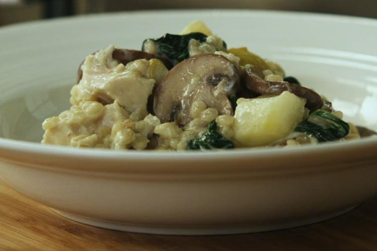 chicken mushroom barley risotto with pear asiago