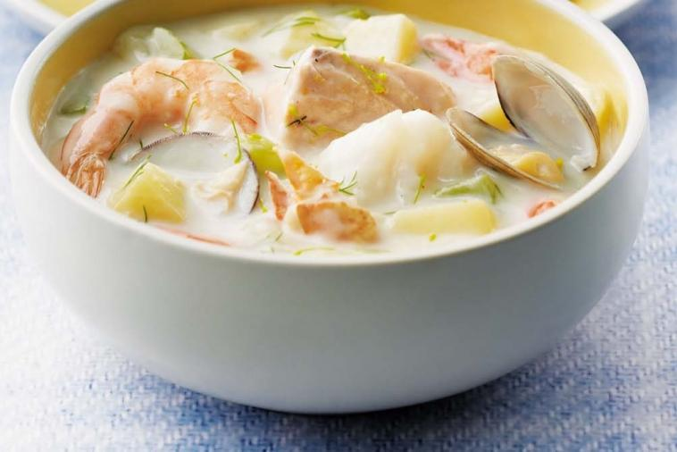 Seafood chowder with fish, shrimp and clams
