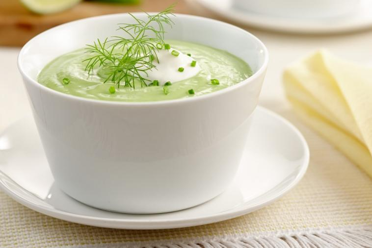 cold avocado and green pea soup with dill