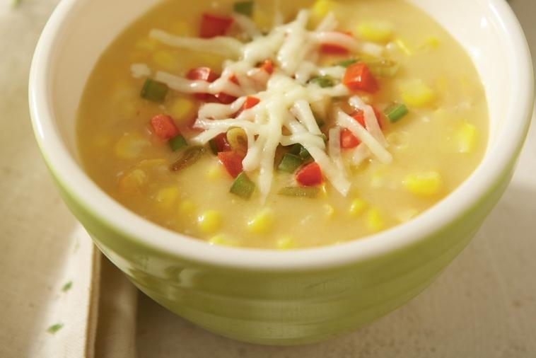 corn chowder with holiday salsa