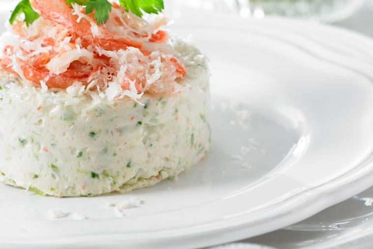 crab and quality cheese ricotta mousse