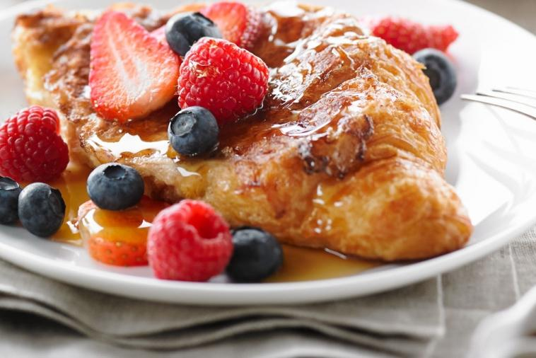 croissant french toast with fresh berries