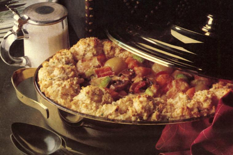 game casserole with savoury biscuits