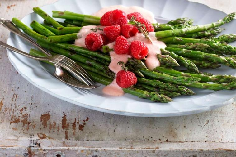 grilled asparagus with creamy raspberry and dijon vinaigrette