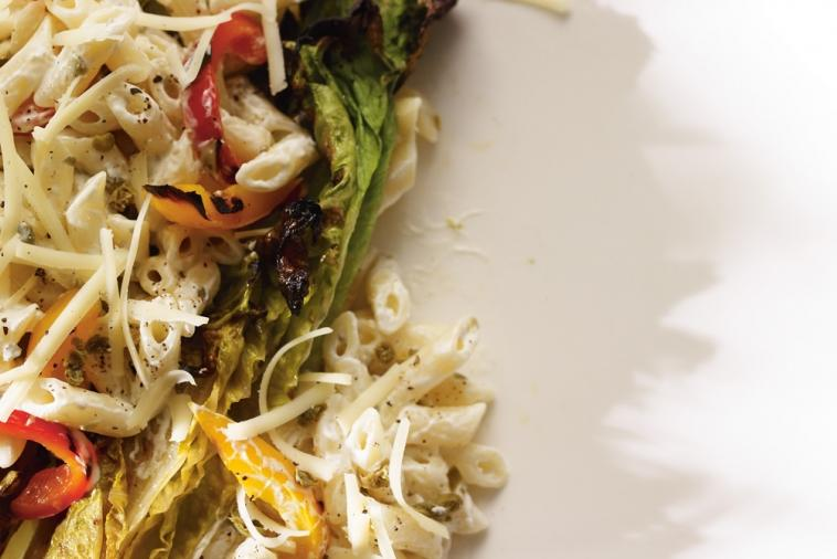 grilled romaine salad with cheddar