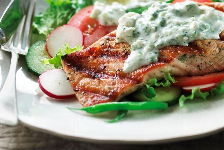 grilled salmon salad with feta dressing