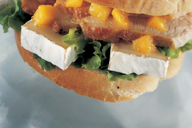 indian inspired grilled turkey and camembert sandwich