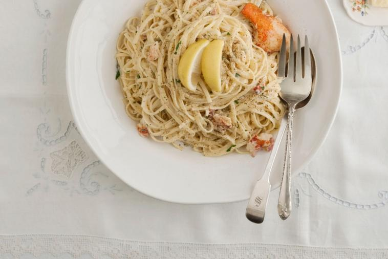 linguine with creamy lemon sauce and lobster