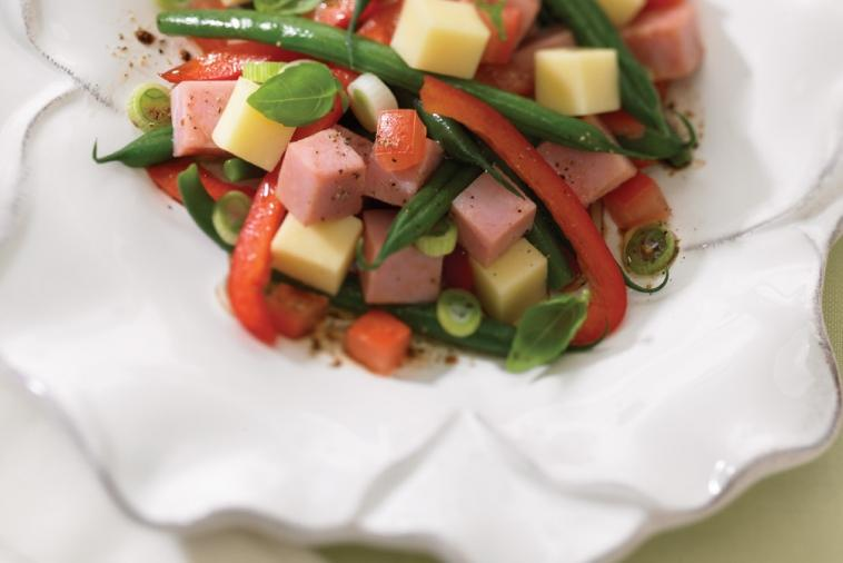 lunchtime ham vegetable and cheddar salad