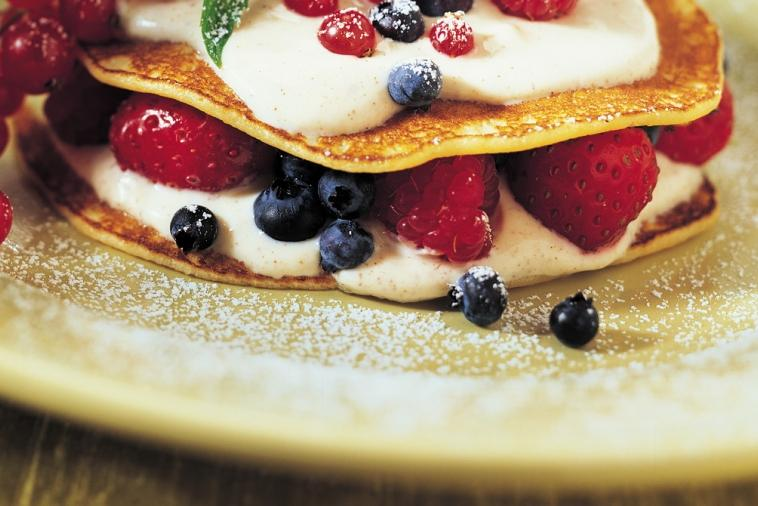 muesli crepe sandwich filled with fruit and cream cheese