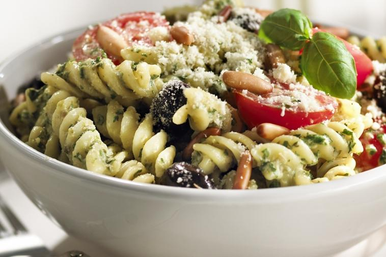 pesto and fresh tomato fusilli