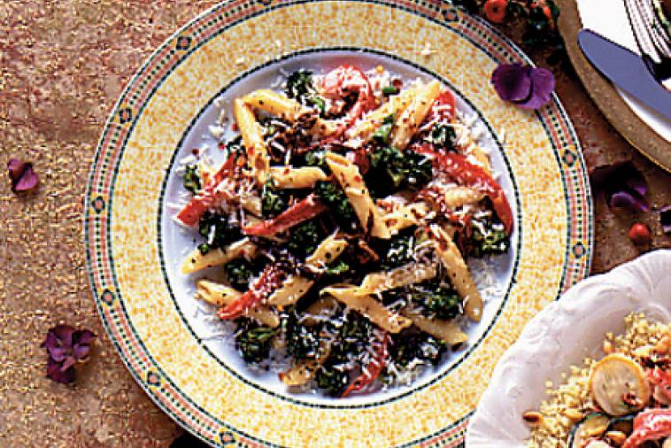 red bell pepper romano and broccoli penne