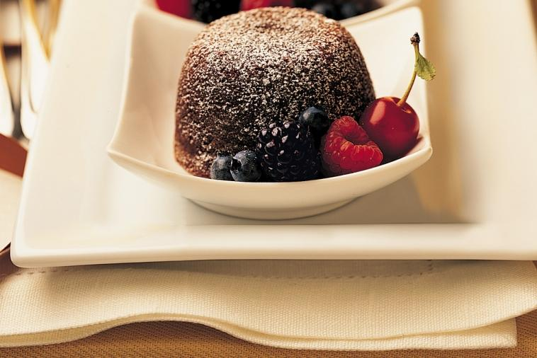 rich double chocolate cake with liquid fruit centre