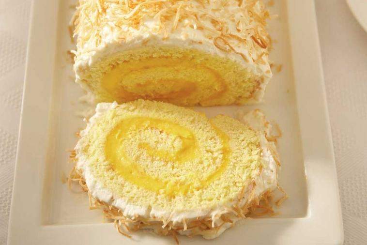 ricotta mango and coconut christmas log