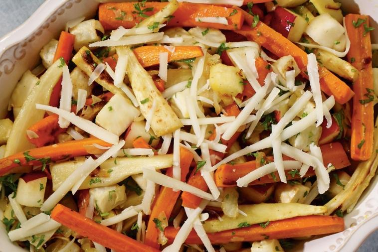 roasted vegetable salad with gunn s hill five brothers cheese