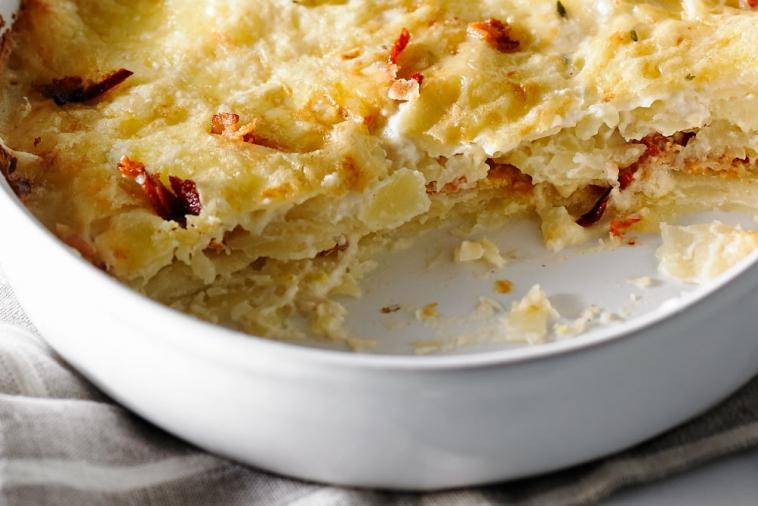 scalloped potatoes with bacon and sun dried tomatoes