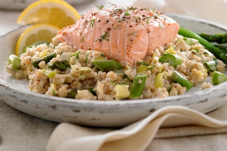 scottish oat leek pilaf with salmon