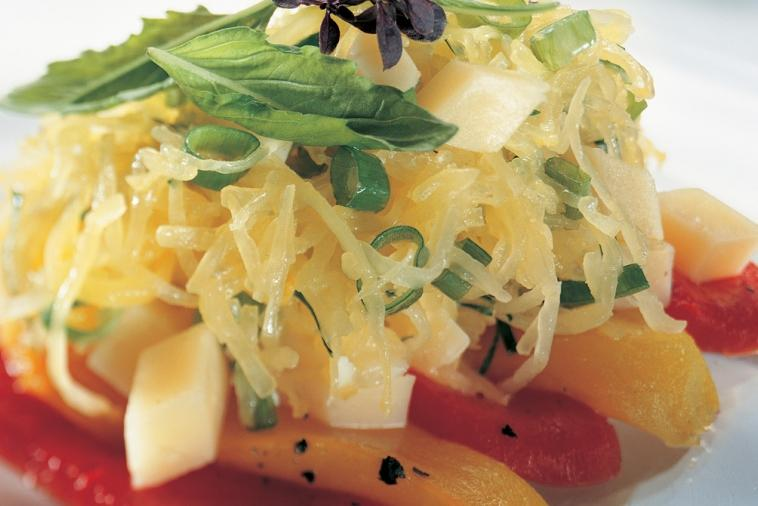 squash salad with grilled peppers and extra old cheddar