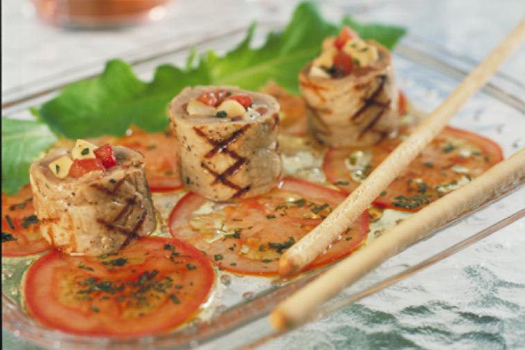 veal paupiettes with canadian mozzarella and garden fresh tomatoes