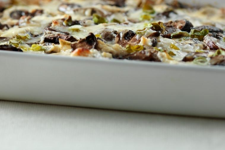 warm roasted mushroom green onion and cheddar dip
