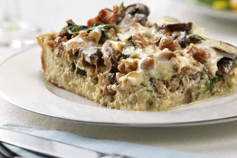wild mushroom sausage and spinach strata